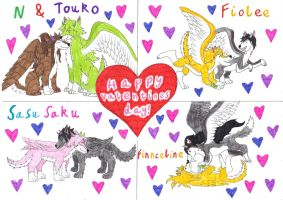 Valentines With My Favourite Pairings (wolf forms) by XKitsuneXNekoX