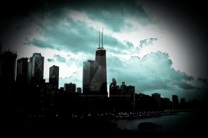 chicago in clouds by Kiera-moonlight-eyes