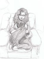 MY WIFE READING by mdjackson