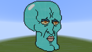 Handsome Squidward Minecraft Pixel Art by CobaltBrony