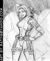 Lady Deadpool unmasked by SatyQ