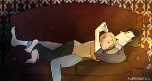 Commiss: Sherlock and John sofa by blargberries