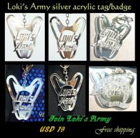 Loki's Army silver acrylic tag/badge by J-C