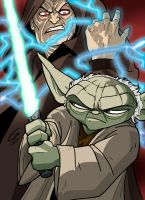 Yoda vs. Sidious by grantgoboom