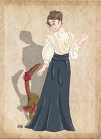 Mignon Talbot and her Podokesaurus by Pelycosaur24
