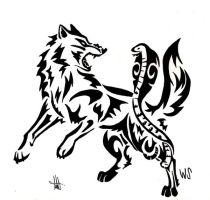 Comission - Wolf fighting a cobra tribal by wolfsouled