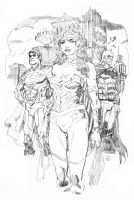 Trinity: Diana, Bruce, and Clark pencils by deankotz