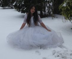White dress in Snow Stock 3 by NaomiFan