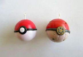Normal and Steampunk Pokemon Pendants by apolloxdesigns