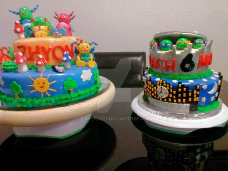 Hugglemonster and TNMT cakes by Paypay101