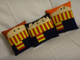 Handmade Harry Potter Trio v1.43 Pillow Set by RbitencourtUSA
