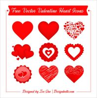 Free Vector Valentine Heart Icons by Designbolts