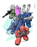 SD Zeon Mobile Suits by RedShoulder