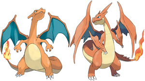 Charizard And Mega Charizard Y by Frie-Ice