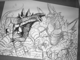 Godzilla v Rockmutal (illustration preview) by Gabe-TKE