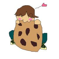 chibi cody with a giant cookie by pinkirlia