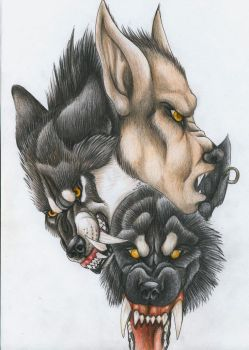 Trio of wolves by punxnotdead309