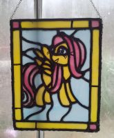 My Little Pony: Fluttershy in stained glass by vulpinedesigns