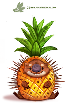 Daily Paint #1174. Porcupine Apple by Cryptid-Creations