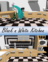 [MMD] Black n White Kitchen DL by OniMau619