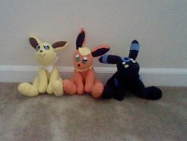 Jolteon, Flareon, And Umbreon Plushies by yoshifan12