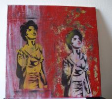 on canvas spray paint stencil art by filippoz