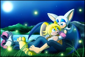 Art trade: Snuggle under the moonlight by zeiram0034