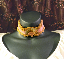 Pink /Ochere Lace Choker with Floral Fan Cabochon by MorganCrone