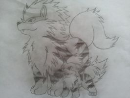 Arcanine and Growlithe by Lionfeather3
