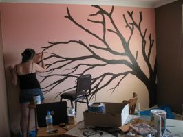 Painting Cherry Blossom Tree by Aeriith