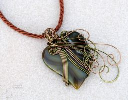 Olive green heart wire wrapped pendant by IanirasArtifacts