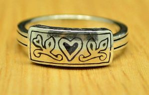 Unusual Vintage Silver Heart and Vines Ring by sevvysgirl