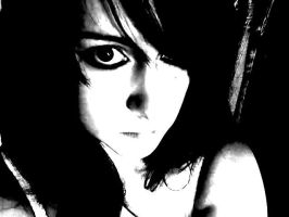 Black and White self portrait by Razorblade666