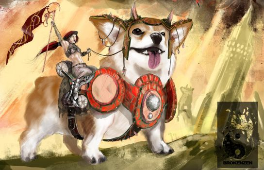 Behold, the War-Corgi by BrokenZen
