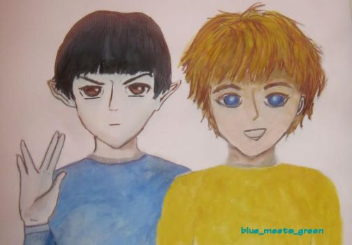 Anime Young Spock and Kirk by HelloBlueMeetsGreen
