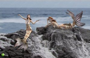 Mermaids On The Rocks by Just-A-Little-Knotty