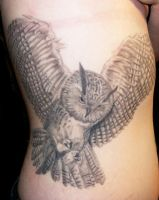 owl rib tattoo by bjsxiii