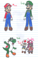 Mario, Luigi, Yoshi, Toad and Toadette by Soniclifetime