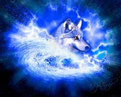 wolf in waves by Tom-in-Silence