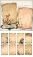 Printable Flower Scrolls ATC images by VectoriaDesigns