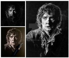 Work in Progress - Scratchboard Bilbo Baggins by LKBurke29