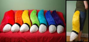 Rainbow Foxy Tails [FOR SALE] by Wolfbird