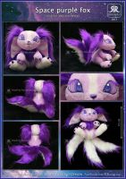Space purple fox plushie by Ryoko-demon