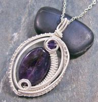 Woven Oval Amethyst and Silver Pendant by HeatherJordanJewelry