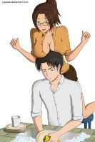 LeviHan Washing the Dishes by jujaswe