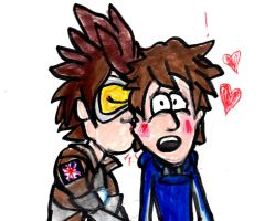 Tracer kisses Brian by SonicClone