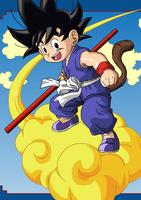 Kid Goku and Nimbus by eggmanrules