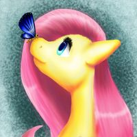 Fluttersy and butterfly by Dertaii