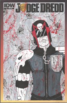 Judge Dredd #13 sketch cover, Frank Castle version by Defaced-Fiend