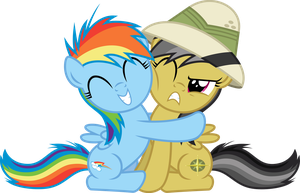 Filly Rainbow Dash Hugging Filly Daring Do by Jeatz-Axl